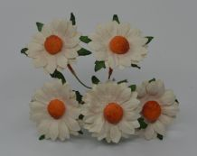 4.5 cm OFF WHITE  SANTINI CHRYSANTHEMUM DAISY Mulberry Paper Flowers